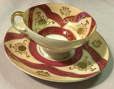 Ucagco Pink and Maroon with Gold Scrolls Miniature Cup and Saucer Set for sale  Troy