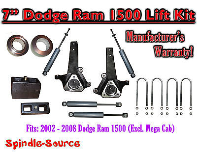 """2002 - 2008 Dodge Ram 1500 2WD 7"""" Front 4"""" Rear Spindle Lift Kit WITH SHOCKS"""