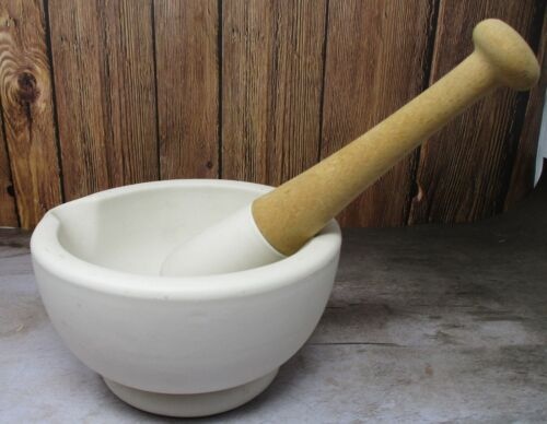 Antique Porcelain Mortar & Pestle Made in England Acid Proof No. 5 MATCHING SET