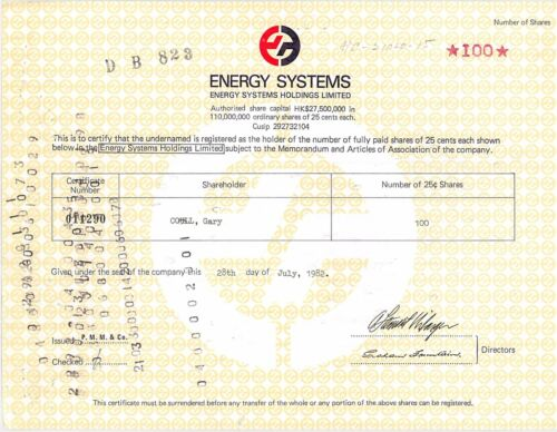 Energy Systems Holdings Limited > Hong Kong issue RES stock certificate share