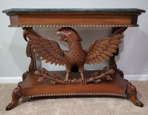 American Carved Eagle Console Table With Marble Top Federal Design - $399.00