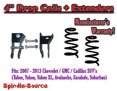 "2007- 14 Chevy GMC SUV 4"" Drop Lowering Coils Springs Suburban Tahoe + EXTENDERS"