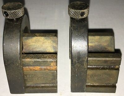 Starrett No. 271 Set Of Matched V-blocks W Clamps As Pictured Case Hardened