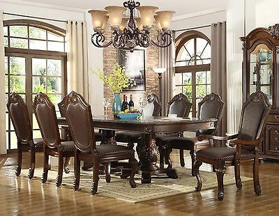 Leather Traditional Table - NEW 9PC CHATEAU FORMAL TRADITIONAL CHERRY FINISH WOOD LEATHER DINING TABLE SET