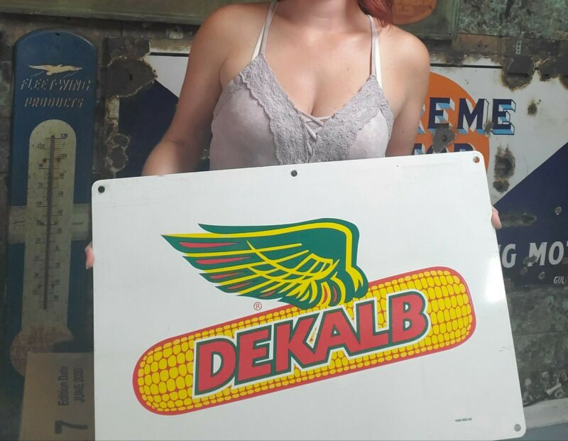 Vintage  Dekalb Asgrow Seed Corn Farm 24 x 16 Metal Sign Double Sided
