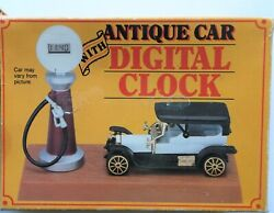 VINTAGE GIFTCO ANTIQUE CAR w/DIGITAL CLOCK  GAS PUMP NEW BATTERY LOOKS GREAT!