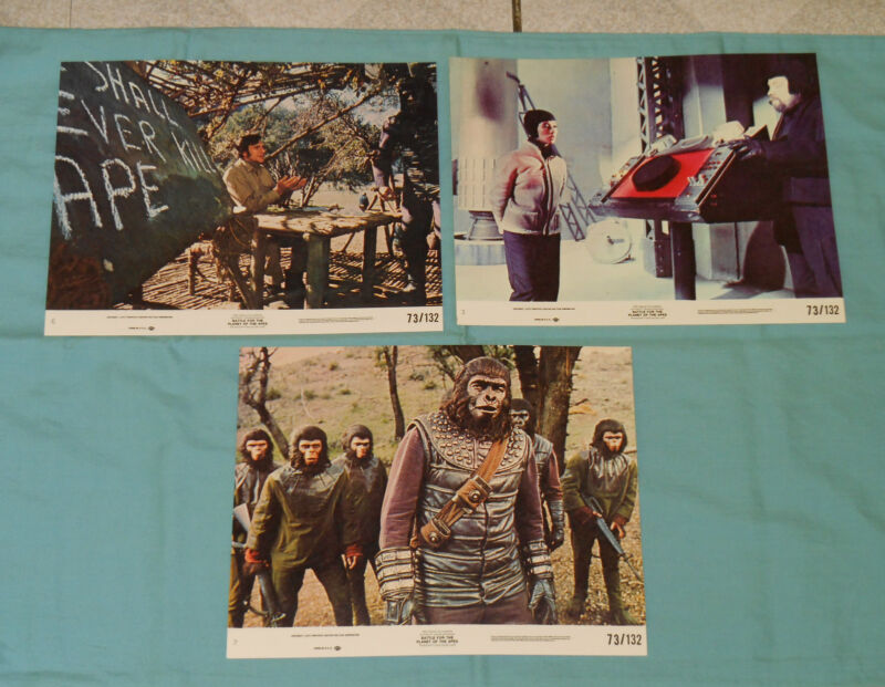 original BATTLE FOR THE PLANET OF THE APES (8x10) lobby card LOT x3
