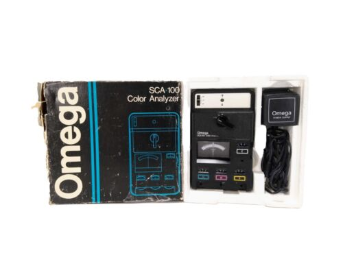 Vintage Omega SCA-100 Color Analyzer w/ Power Supply & Original Box, Illuminated