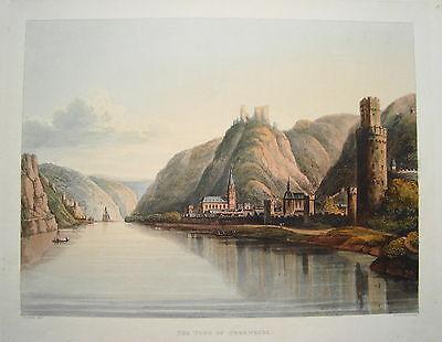 Oberwesel Rhein sehr  seltener altkolorierter  Aquatinta Kupferstich 1814