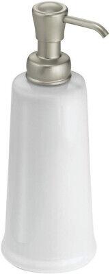 iDesign York 12oz Ceramic Liquid Soap Pump Dispenser (White/Satin) 53785 Ceramic Liquid Soap Dispenser