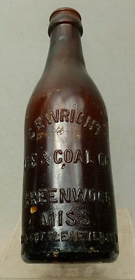 AMBER MISS. STRAIGHT SIDE COCA COLA BOTTLE-C.E.Wright Ice & Coal-Greenwood-1