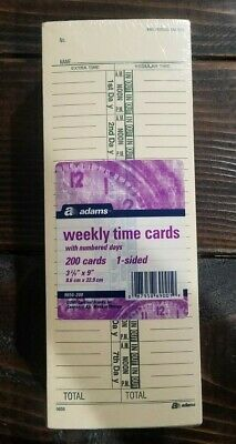 Adams Time Cards Weekly 1-sided Number Days 3-25 X 9 Manilagreen Print