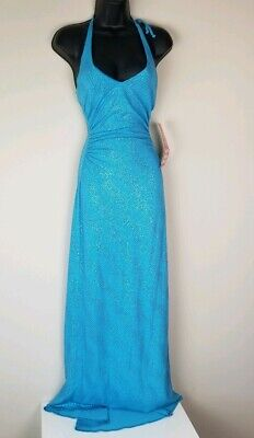 Women's V Neck City Triangle Sz SM Turquois Sequins Gown NEW Halter Top -