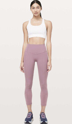 """NEW LULULEMON LEGGINGS pink figue Size 6 THE RIGHT PLACES CROP II *23"""" LUXTREME"""