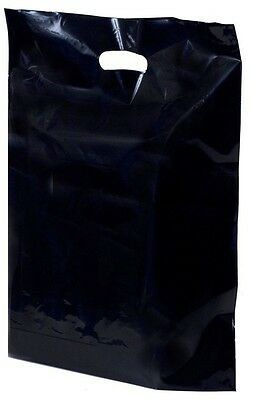 500 Strong Black Patch Handle Fashion Plastic Carrier Bags 15''x18''