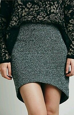 Free People Wildfire Skirt  Hi Lo Rounded Hem Knit Tweed Large Finders Keepers