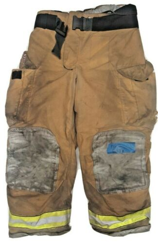 40x30 Globe Gxtreme Brown Firefighter Turnout Pants with Yellow Tape P1212