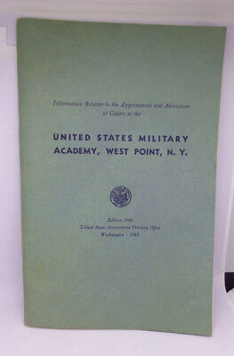 United States Military Academy West Point 1944 Cadets Information Admission