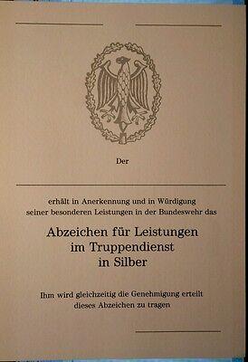 Bundeswehr - Urkunde für das Leistungsabzeichen in SILBER
