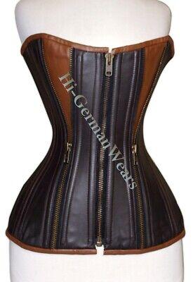 Leather Steel Boned Corset (Heavy Duty Double Steel Boned Full Bust Waist Training Leather Zip Corset Hi-88)
