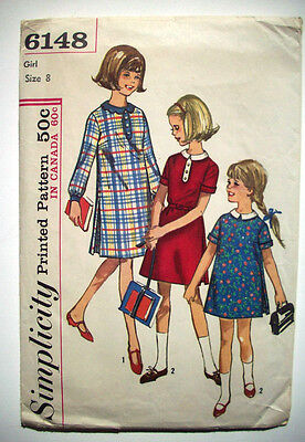 1960's Girl's one piece dress fancy collars pattern 6148   size 8