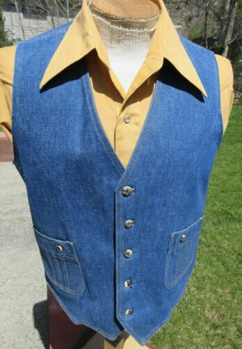 Mens Vintage LEE SEPARATES Denim Vest size 42R - Hippy Era XLNT COND  Free Ship