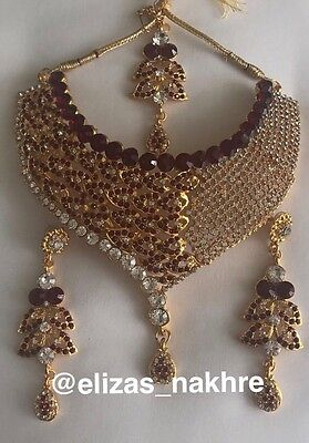 Indian/Pakistani Red and Silver necklace set With Earrings And Tikka