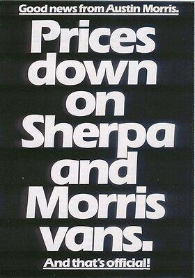 Austin Morris Leyland Sherpa & Marina Van Price Cuts 1980 Original UK Brochure