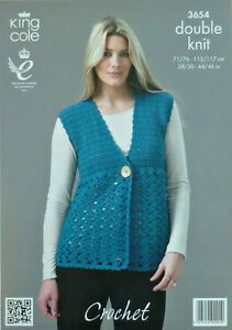 Crochet Patterns King Cole : Details about Crochet Pattern Ladies V-neck Waistcoat DK King Cole