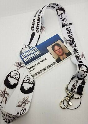 The Office Dwight Halloween Costume (The Office ID Badge &Lanyard Dunder Mifflin Sales Dwight Schrute cosplay)