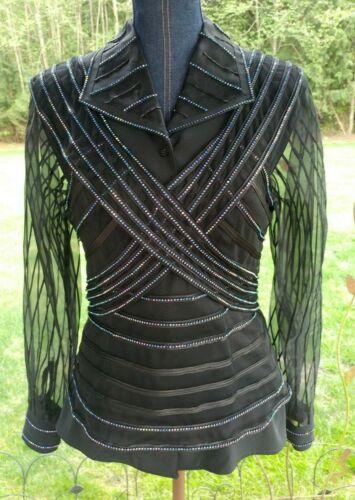 Ladies Western Trail Rail Pleasure Show Shirt and Vest Black Stripes M/L 12-14