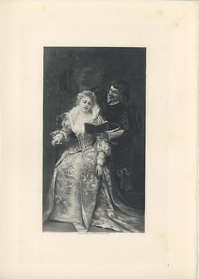 ANTIQUE ELIZABETHAN ERA COSTUME WOMAN MAN LACE FLIRTING LOVE ROMANCE - Elizabethan Era Costumes