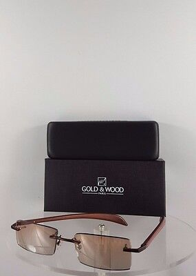 Brand New Authentic Gold and Wood Sunglasses A06 33 AcRc32 Rimless Brown Frame