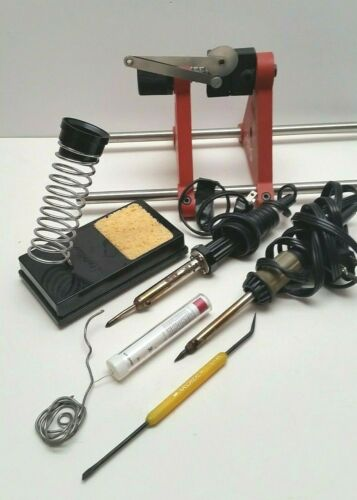 Soldering irons, 2 Rolls Of Solder and Stand Holders