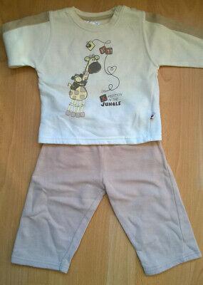 Jogginganzug für Jungen, beige, Größe 74, Giraffe, Affe