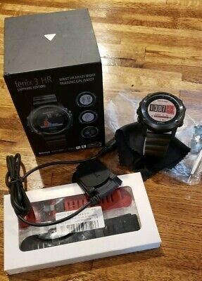 Garmin Fenix 3 HR Sapphire Watch GPS w/extra bands - EUC