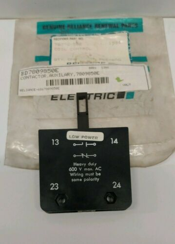 NEW OLD STOCK! RELIANCE ELECTRIC 600V AUXILIARY CONTROL CONTACTOR 7809850E