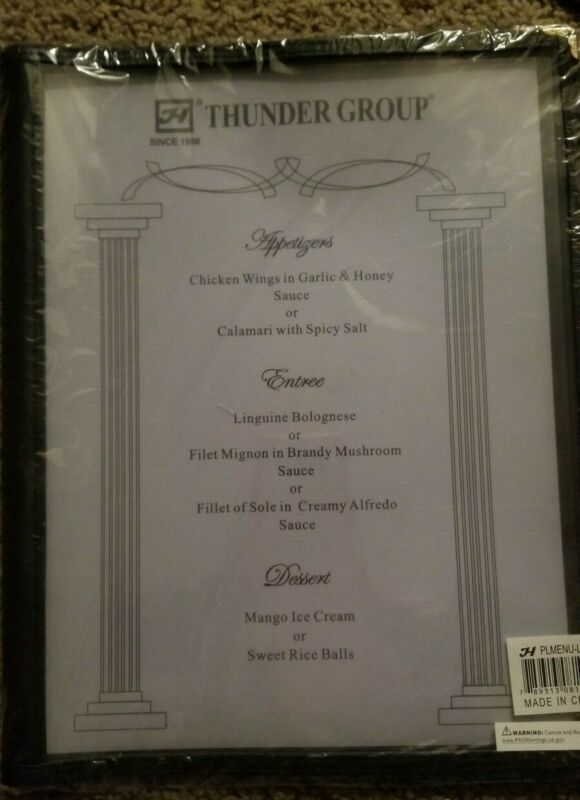 "8PCS Restaurant Menu Cover 8.5x14"" 3 Page 6 View Cafe Club Black Trim Fold Book"