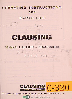 Clausing 14 6900 Series Engine Lathe Operations And Parts Manual