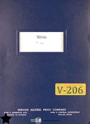 Verson 6b And 6g Press Maintenance Wiring And Parts Manual