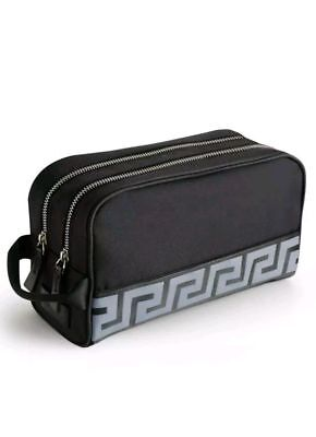 Versace Black Mens Toiletry Wash Bag Weekend Bag Dopp Kit Case with Dust Cover
