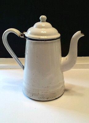 "Vtg White Enamel Tea Pot Rustic Farmhouse Chic Camping Kettle 10"" Curved Spout"