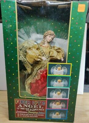 "Fiber Optic Angel Christmas Tree Topper Lighted Decoration 12"" Color Changing"