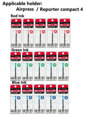 5×Zebra 0.7mm Red,Green,Blue Ink Refill , for Tombow Airpress,Reporter compact -