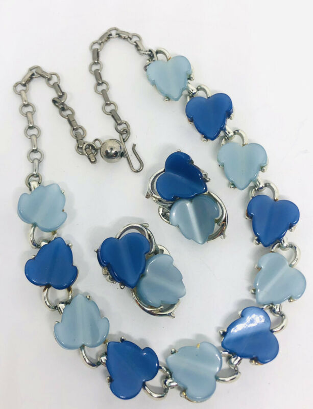 Lucite Thermoset Necklace & Earrings Demi Blues Leaves Vintage Jewelry