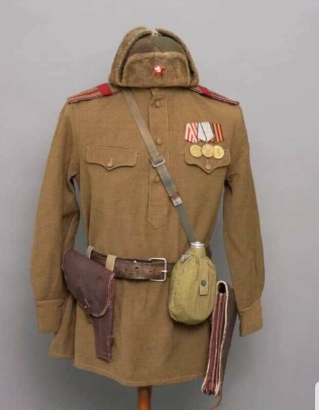 WW2 Russian Soviet Starshina Infantry Gimnasterka / Ushanka / Belt Etc