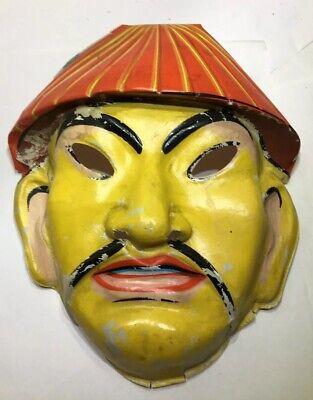Rare Halloween Plastic Mask Vintage 1950's 1960's Oriental Asian Chinese Man