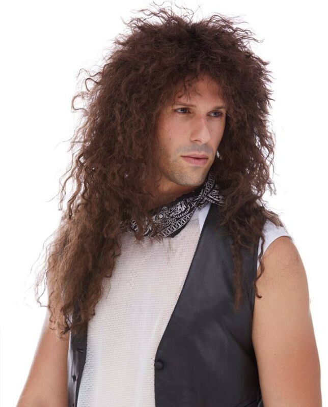 Jon Bon Jovi Wig Costume Deluxe 80s Brown Curly Hair Metal Singer Heavy Rock