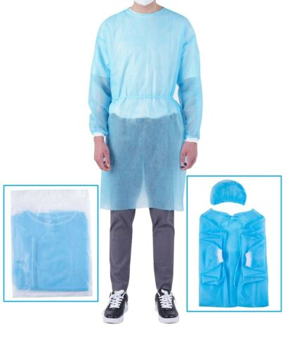 "(5pcs) 30gs Blue Medical Dental Isolation Gown + 21"" Bouffants Cap  FreeShipping"