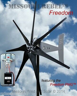 Wind turbine generator kit Freedom 12 V 1700 watt 7 blade turbine BLK bare steel